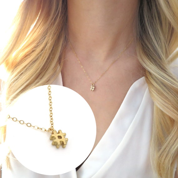 Gold Hashtag Necklace