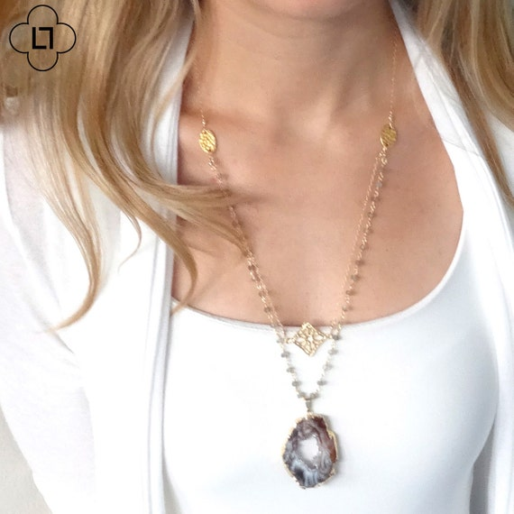 Druzy Geode and Gold Medallion Boho Layer Necklace