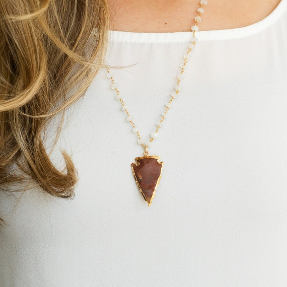 Jasper Arrowhead Necklace with Moonstone Rosary