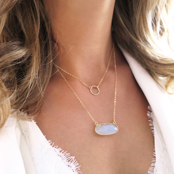 Open Circle & Moonstone Necklace