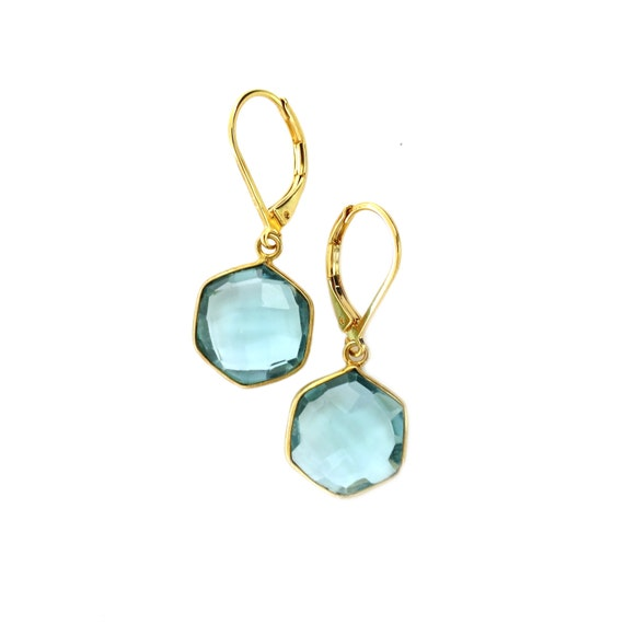 Hexagon Aquamarine Earrings