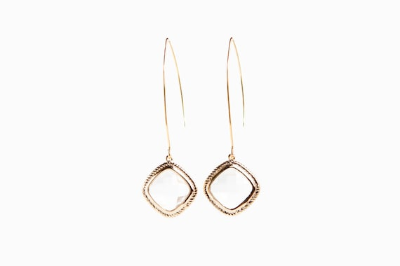 Long Gold Crystal Earrings
