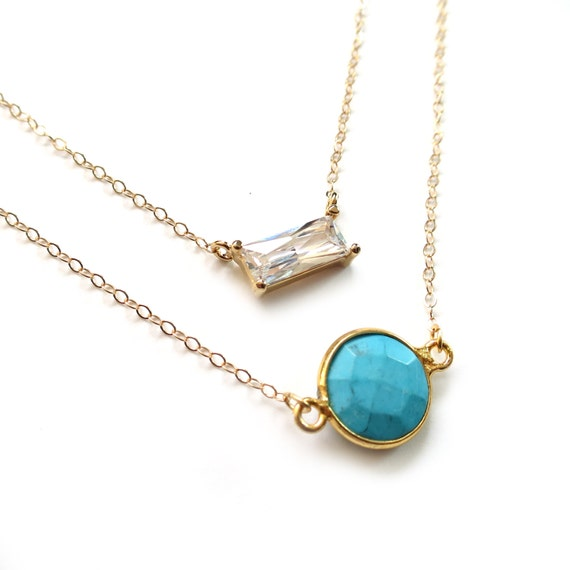 Turquoise Necklace, Turquoise Pendant, Turquoise Jewelry, Gold Layer Necklace, 14k Gold Fill Chain, Gold Satellite Chain, Small Turquoise