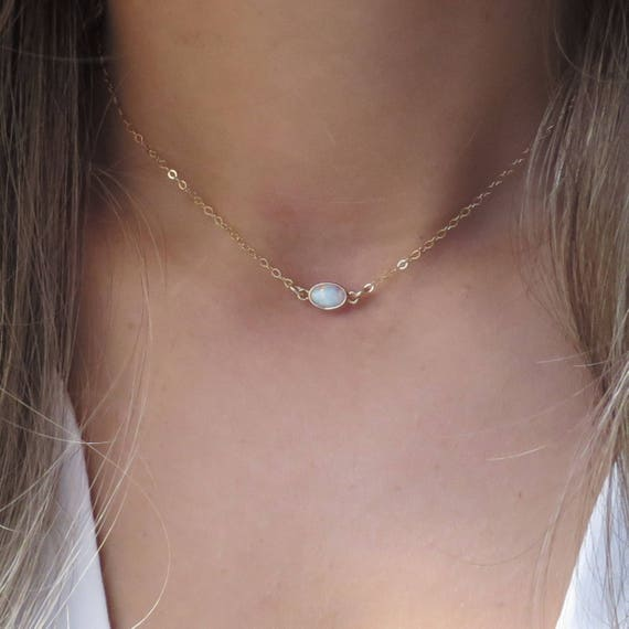 Short Suspended Opal Necklace