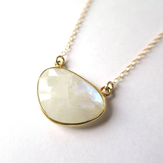 Suspended Triangle Moonstone Necklace