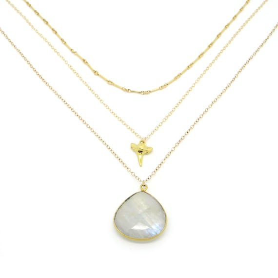 Nautical Gold Shark Tooth + Moonstone Layer Necklace