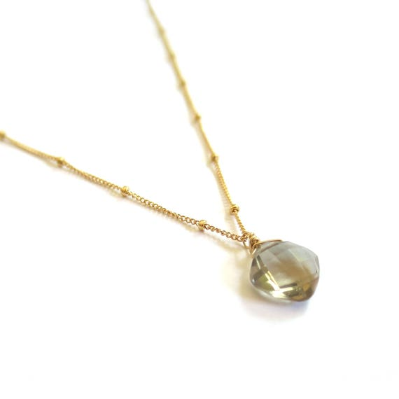 Cushion Cut Smokey Topaz Pendant Necklace