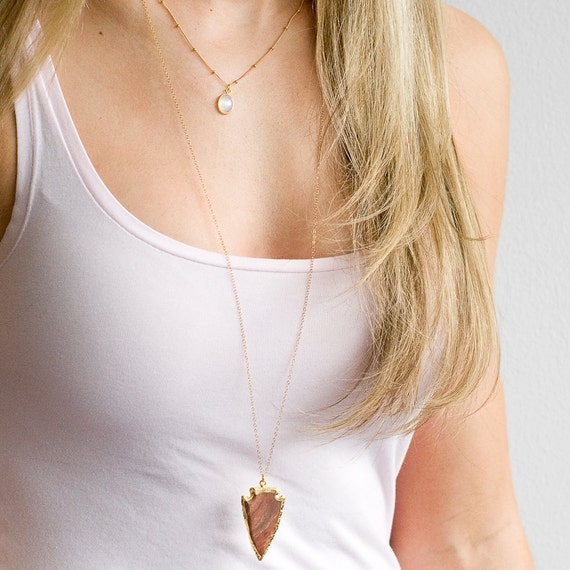 Boho Gold Arrowhead Necklace