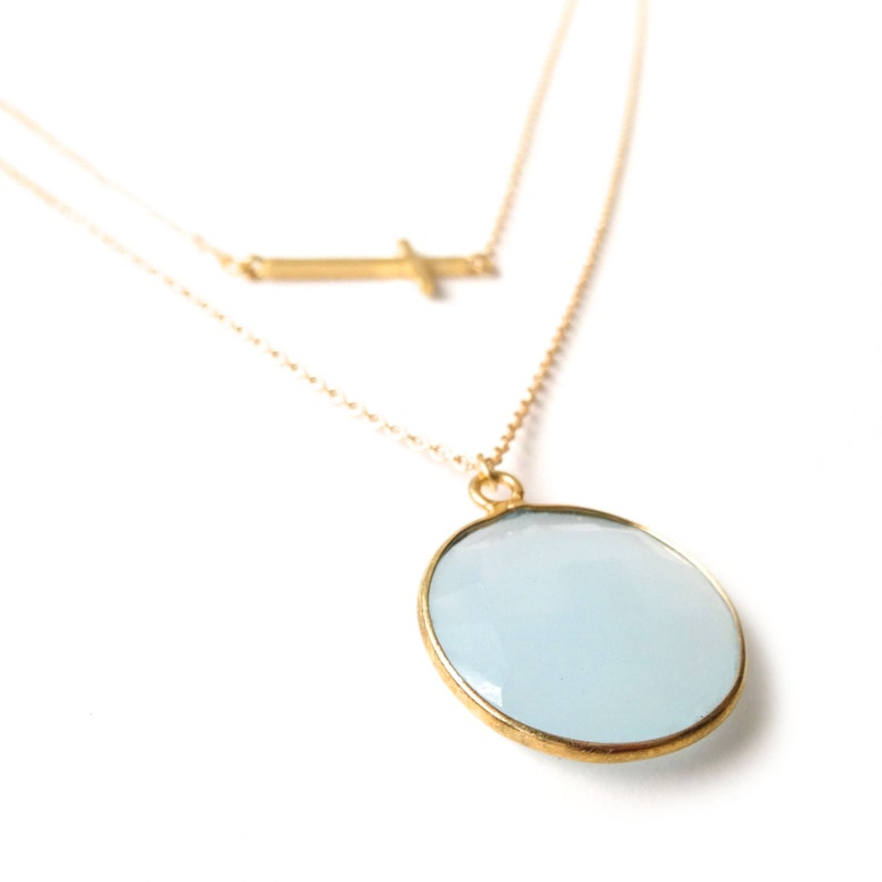14k Gold Filled Chain BGold Layer Necklace lue Necklace Sideways Cross Necklace Something Blue Light Blue Chalcedony Necklace
