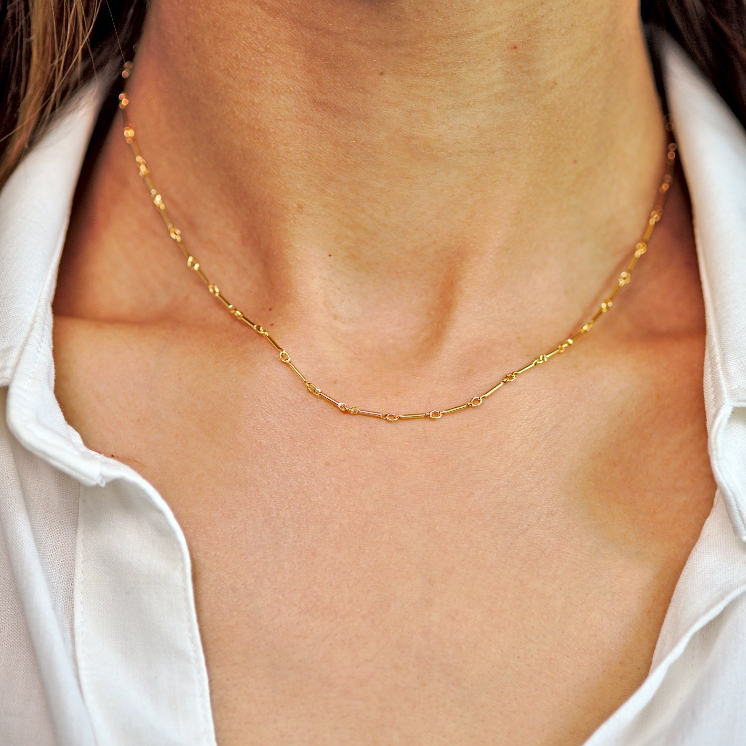9102b8b32eefa Delicate Gold Bar Chain Necklace