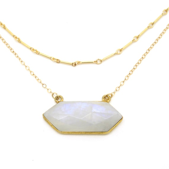 Hexagon Moonstone Layer Necklace