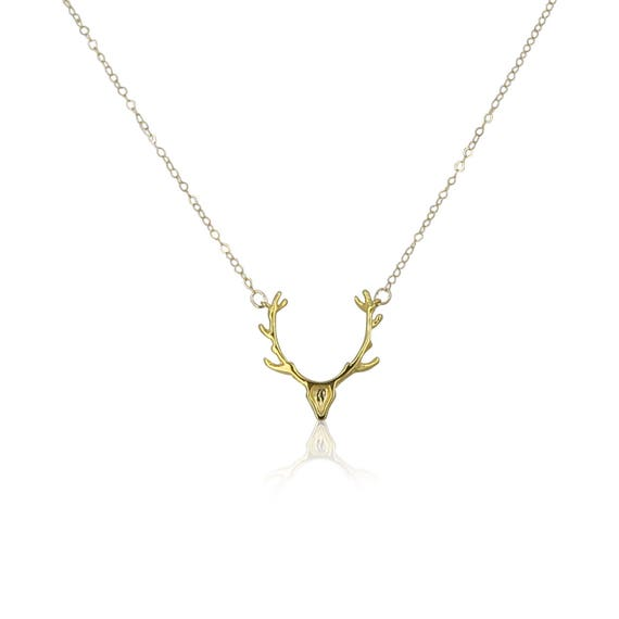 Silver or Gold Antler Necklace