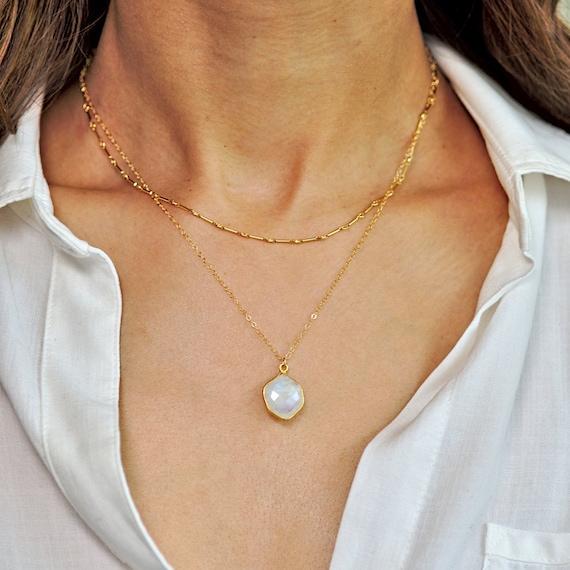 Gold Hexagon Moonstone Pendant Layered Necklace