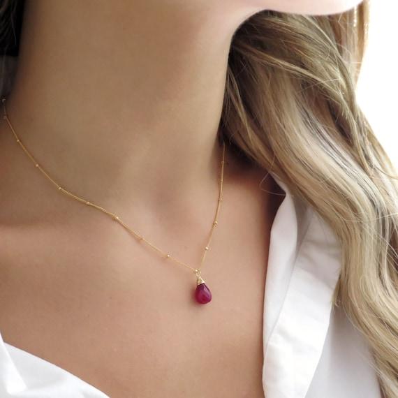 Dainty Ruby Teardrop Necklace