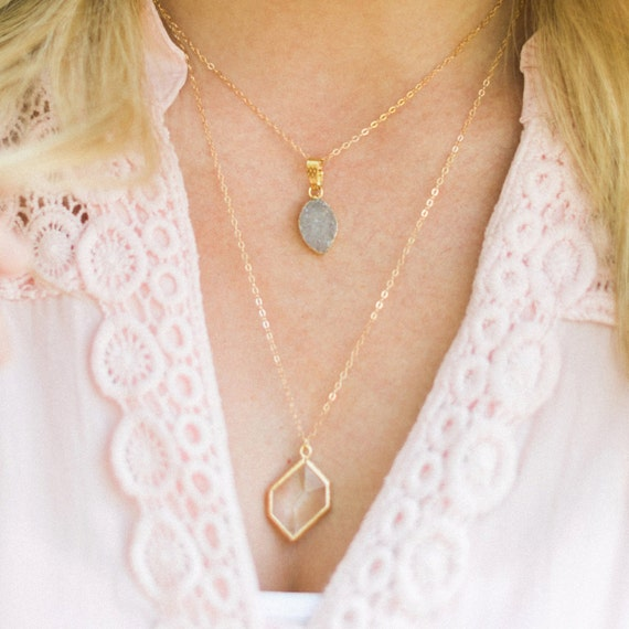 Hexagon Pendant + Druzy Layer Necklace