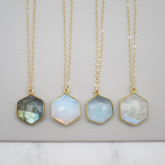 Hexagon Gemstone Necklace