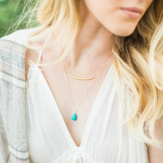 Gold Bar and Turquoise Layer Necklace