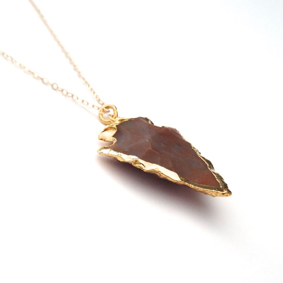 Long Gold Stone Arrowhead Necklace