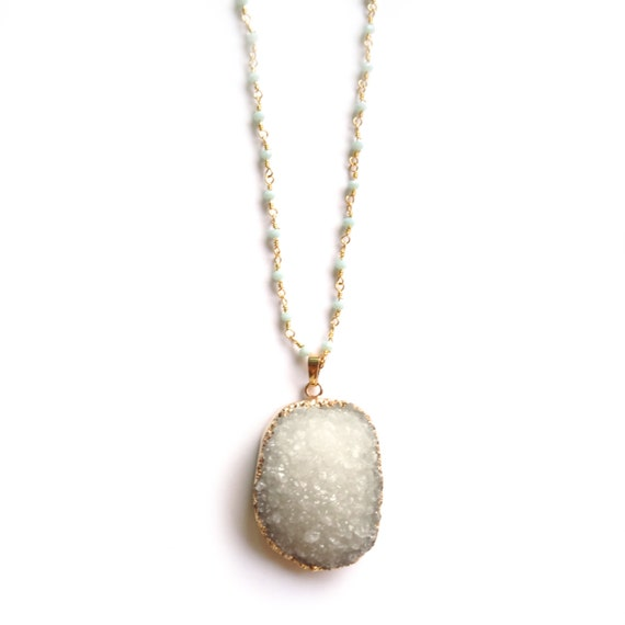 White Druzy Necklace, Long Gold Necklace, Druzy Pendant, Drusy Necklace, Rosary Necklace, Dainty Gold Necklace, Delicate Gold Necklace