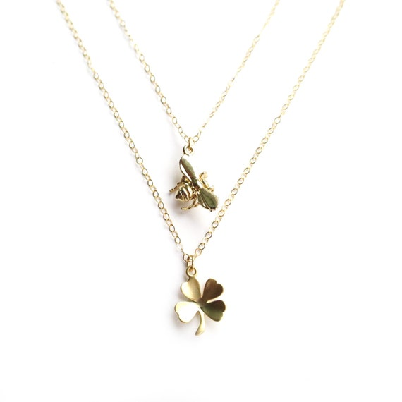 Good Luck Bee and Clover Layer Necklace