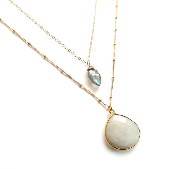 Moonstone Labradorite Layer Necklace