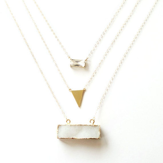 Geometric Glass, Gold, and Druzy Bar Layer Necklace