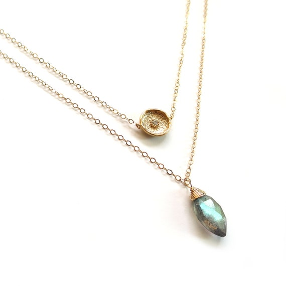 Gold Coin + Labradorite Pendant Layer Necklace