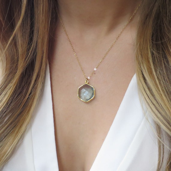 Aquamarine Hexagon Necklace