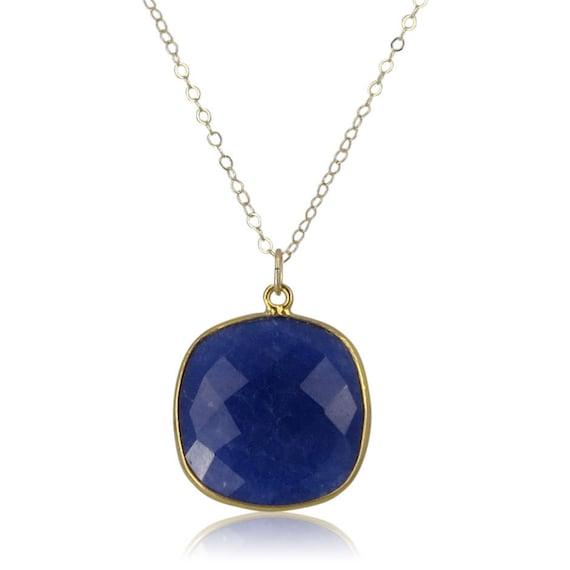 Gold Lapis Lazuli Pendant Necklace
