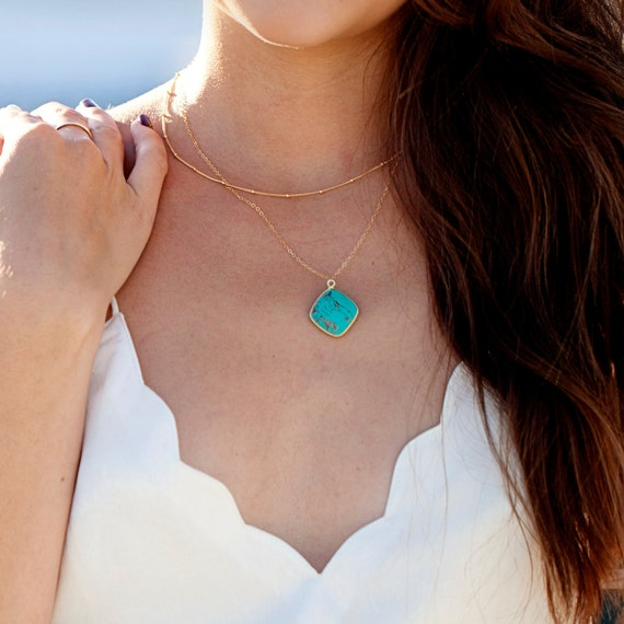 Gold Turquoise Layer Necklace