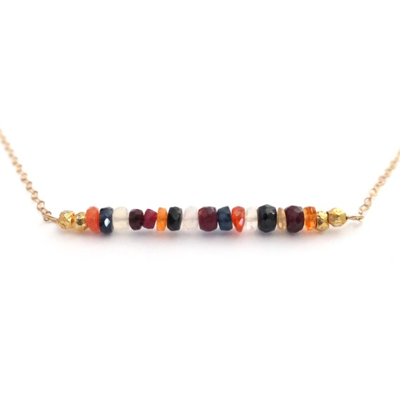Fall Indian Corn Multi Color Gemstone Bar Necklace