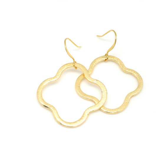 Large Gold Clover Earrings