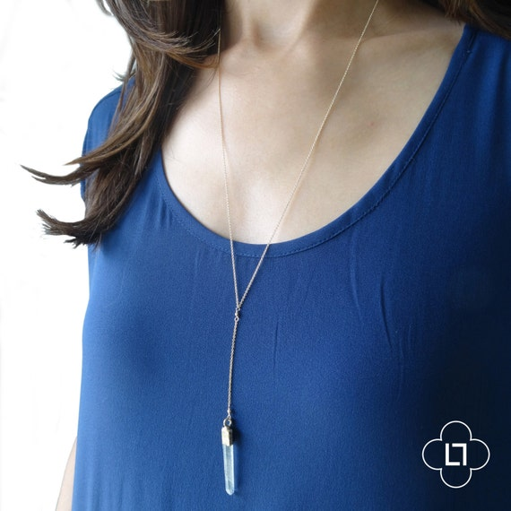 Long Crystal Y Necklace