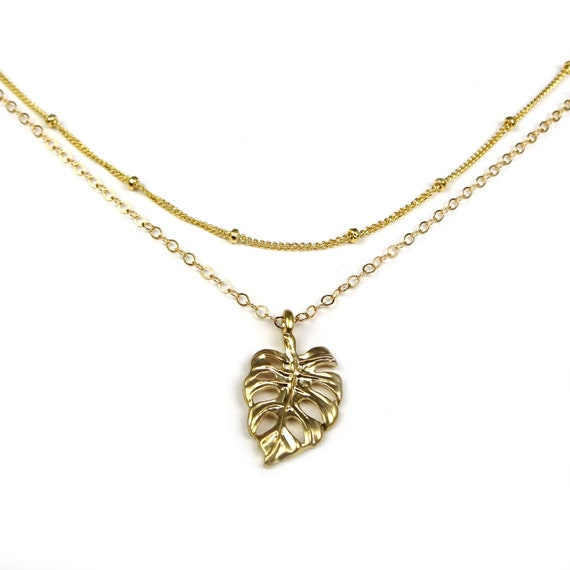 Gold Monstera Leaf Necklace