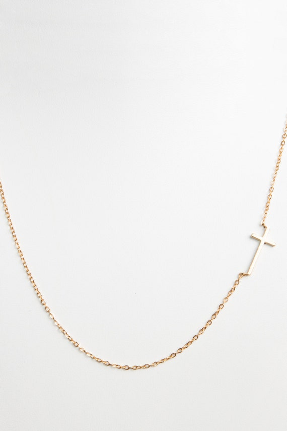 Dainty Gold Sideways Cross Necklace