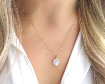 Small Gold Moonstone Necklace, Gold Fill Chain, Satellite Chain, Delicate Necklace, Rainbow Moonstone, Delicate Moonstone, Dainty Moonstone