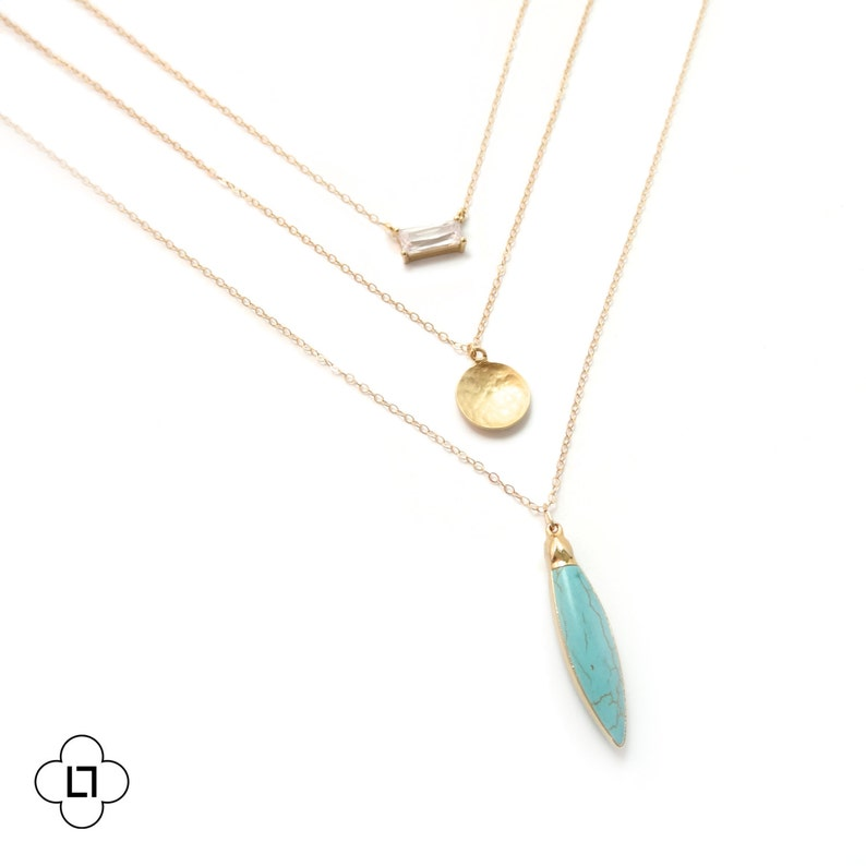 Gold Turquoise Necklace Gold Layer Necklace Delicate Necklace Landon Lacey Turquoise Layer Necklace Layered and Long