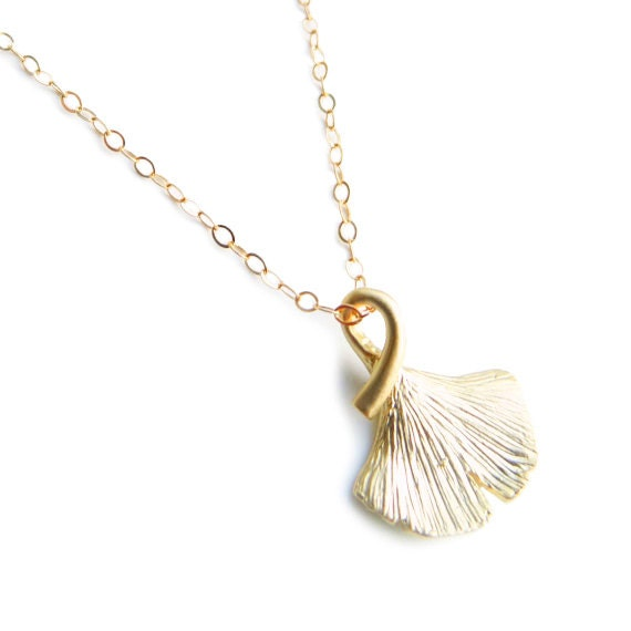 Gold Ginkgo Leaf Chram Necklace