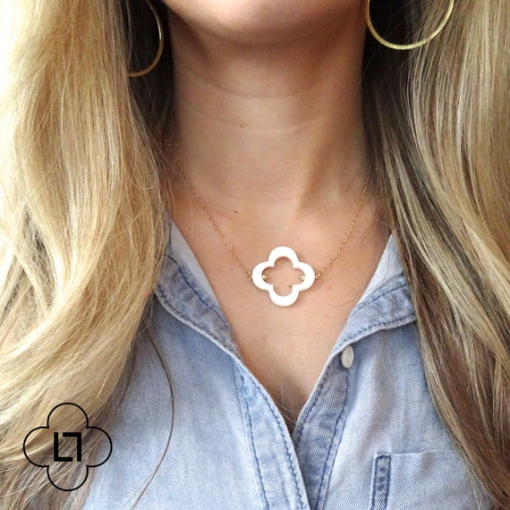 Mother of Pearl Four Leaf Clover Necklace