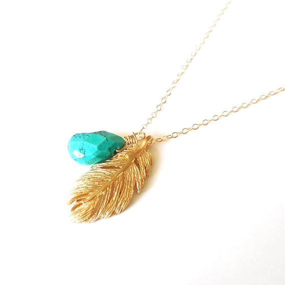 Boho Gold Feather and Turquoise Necklace