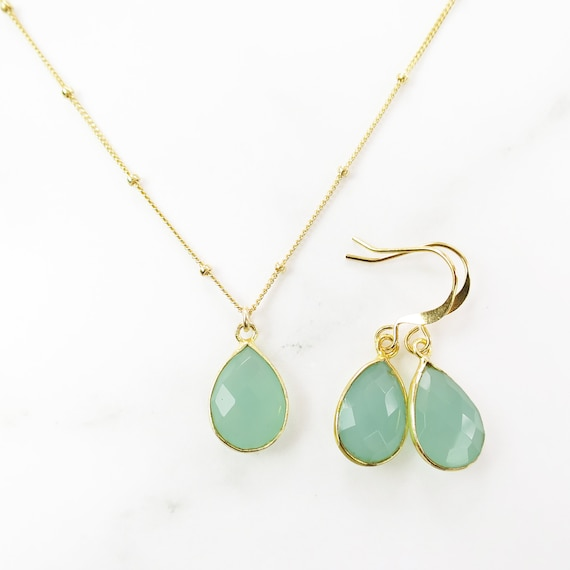 Aqua Chalcedony Necklace Earring Set
