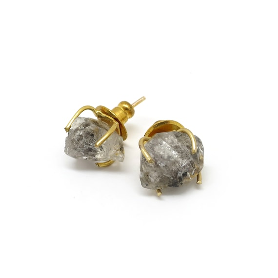 Raw Quartz Stud Earrings