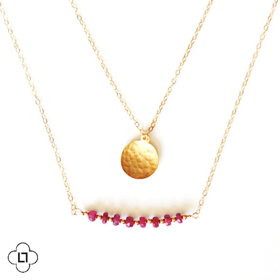 Delicate Hammered Gold Coin and Ruby Bar Layer Necklace