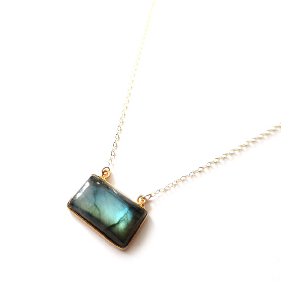 Rectangular Labradorite Pendant Necklace