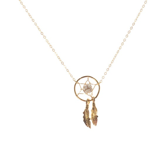 Gold Dreamcatcher Pendant Necklace