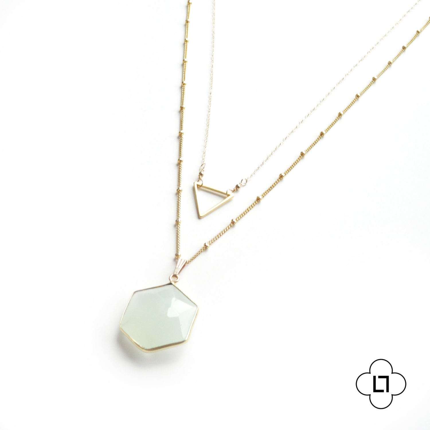 90634f3a44d5a Gold Triangle and Chalcedony Geometric Layer Necklace