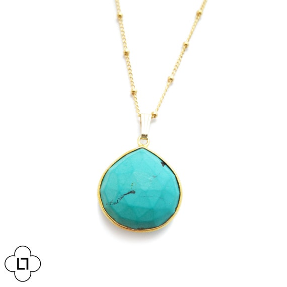 Gold Framed Turquoise Necklace