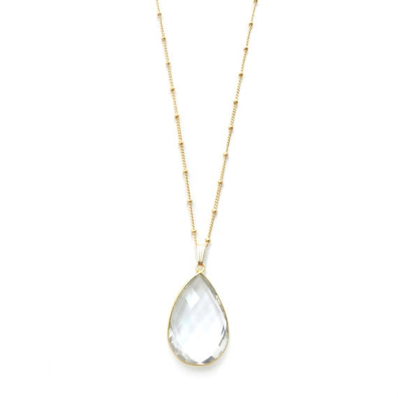 Clear Quartz Teardrop Pendant Necklace