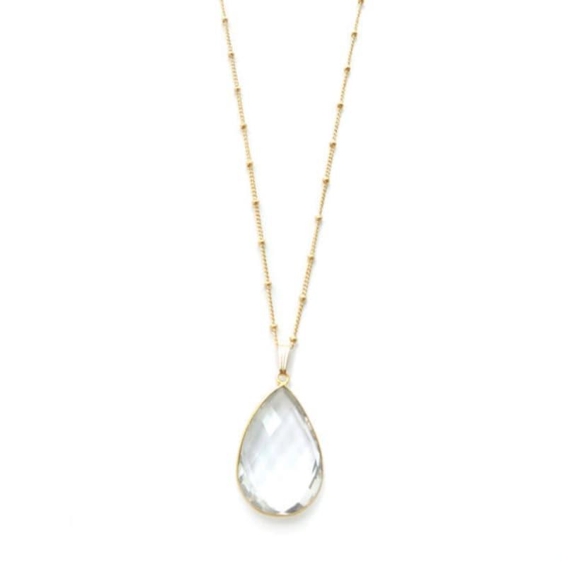 Clear Quartz Teardrop Long Gold Necklace Pendant Necklace image 0