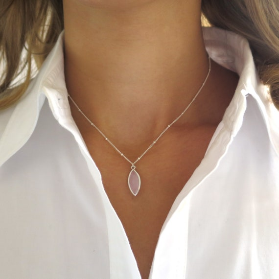 Dainty Pink and Silver Satellite Necklace